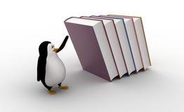 3d pinguïn die van dalende grote boeken op hem concept in werking stellen Royalty-vrije Stock Fotografie