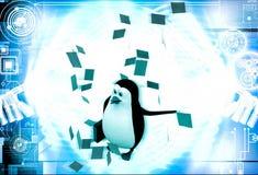 3d pingwin pod deszczem papier zauważa ilustrację Obrazy Stock