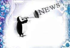 3d pingwin speakering przez mówcy o wiadomości ilustraci Fotografia Stock