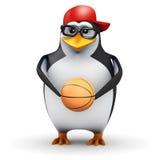 3d pingwin trzyma koszykówkę ilustracja wektor