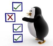 3d pingwin uncheck pojęcie Zdjęcia Stock