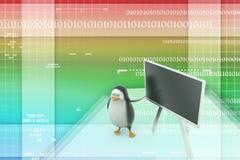 3d pingwin z blackboard Zdjęcie Royalty Free