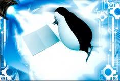 3d pingwinu lying on the beach na podłogowej i czytelniczej książkowej ilustraci Zdjęcia Stock