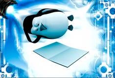3d pingwinu lying on the beach na podłogowej i czytelniczej książkowej ilustraci Obraz Stock
