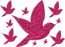 3D Pink Birds. Flying together. stock illustration