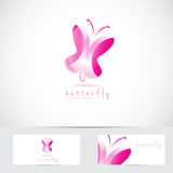 3d pink butterfly logo Royalty Free Stock Image