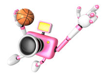 3D Pink camera basketball player Vigorously jumping. Create 3D C Royalty Free Stock Photography