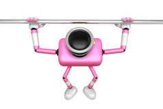 3D Pink Camera character is doing a vigorous horizontal bar work Stock Photo