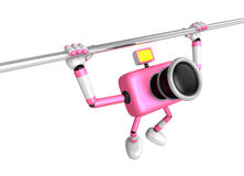 3D Pink Camera character is doing a vigorous horizontal bar work Royalty Free Stock Photography