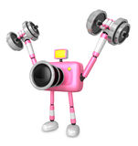 3D pink Camera character a Dumbbell Shoulders Press Exercise. Cr Stock Photo