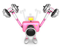 3D pink Camera character a Dumbbell Shoulders Press Exercise Royalty Free Stock Image