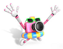 3D pink Camera Character jumping in rubber ring. Create 3D Camer Royalty Free Stock Photo