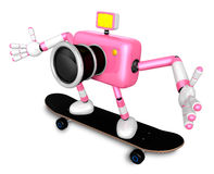 3D Pink Camera Character skateboarding riding . Create 3D Camera Royalty Free Stock Photo