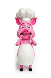 3d Pink chef with surprise. Condition Stock Photos