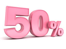 3D pink fifty percent or special offer 50% discount tag for lady. Female , women , mother day isolated over white background with shadow and reflection . 3D Royalty Free Stock Photography