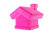 3d pink furry house. 3d pink fur house isolated on white background stock illustration