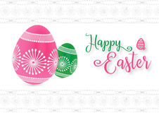 3D pink and green easter eggs on white decorative pattern background. Happy Easter background with calligraphy text clip art for web banner, border and vector illustration
