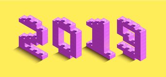 3d izometric number of new year from lego bricks. 3d izometric number 2019 from constructor bricks. 3d pink izometric number of new year from lego bricks on stock illustration