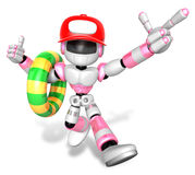 3d Pink robot Rescue operations are on summer vacation. Create 3 Royalty Free Stock Image