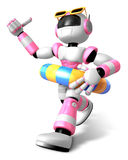 3d Pink robot set out on a summer vacation Stock Photography