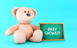 3d pink teddy bear with blackboard. 3d illustration. pink teddy bear with blackboard. Baby Shower Invitation Stock Image