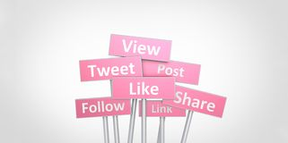 3D pink View Tweet Like Follow Post Link Share street signs illustration design on white gray background Stock Photography
