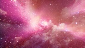 3D pink galaxy space star glow zooming in background