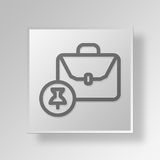 3D pinned briefcase icon Business Concept Stock Photography