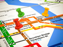 3d pins and subway map Stock Photos