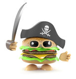 3d Pirate burger. 3d render of a burger playing at being a pirate Royalty Free Stock Images
