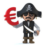 3d Pirate captain has a Euro currency symbol Royalty Free Stock Photos