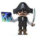 3d Pirate captain pays with a debit card. 3d render of a cute pirate captain holding a debit card royalty free illustration