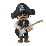 3d Pirate Captain playing an electric guitar Stock Images