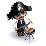 3d Pirate cooks a bbq Stock Photography