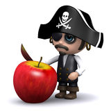 3d Pirate cuts up an apple Stock Photos