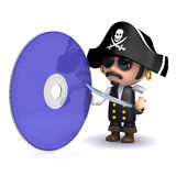 3d Pirate dvd. 3d render of a pirate with a dvd Stock Photo