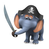 3d Pirate elephant Stock Images