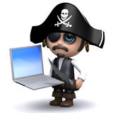 3d Pirate laptop Royalty Free Stock Photography