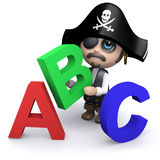 3d Pirate learns the alphabet Royalty Free Stock Image