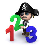 3d Pirate learns how to count Stock Photography