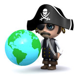 3d Pirate looks at a globe of the Earth Stock Images