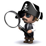 3d Pirate looks through a magnifying glass Royalty Free Stock Photo