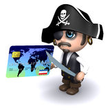3d Pirate pays with a credit card Stock Photography