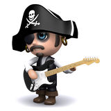3d Pirate plays electric guitar Royalty Free Stock Images