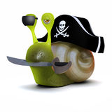 3d Pirate snail Royalty Free Stock Photos