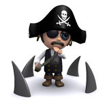 3d Pirate surrounded by sharks Stock Image