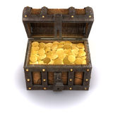 3d Pirate treasure chest full of gold Stock Photos
