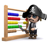 3d Pirate using an abacus. 3d render of a pirate with an abacus Royalty Free Stock Image