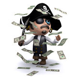 3d Pirate in a windfall of cash. 3d render of a pirate surrounded by falling US Dollar bills Stock Photography