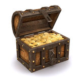 3d Pirates treasure chest. 3d render of an open treasure chest full of gold Stock Image
